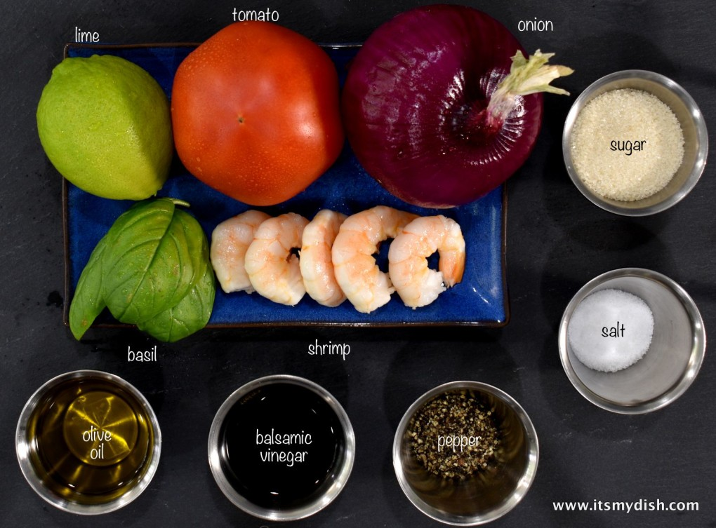shrimp and tomato salad - ingredients
