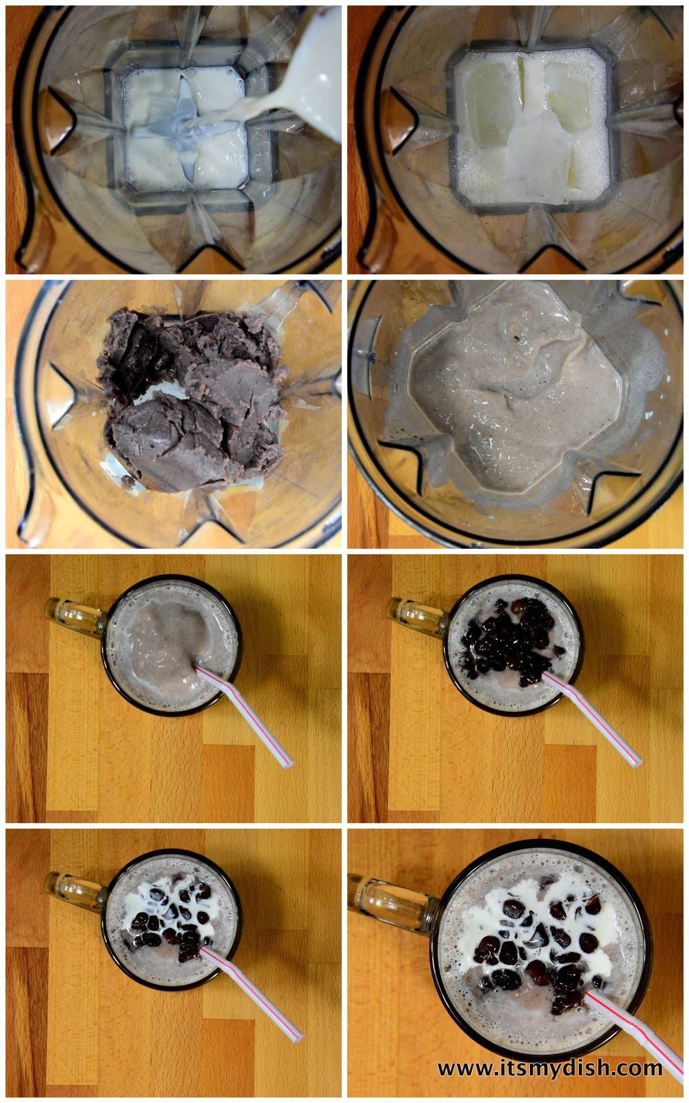 red bean slush - process